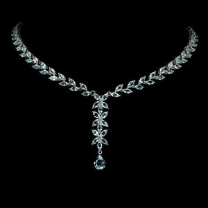 Pear Sky Blue Topaz 9x7mm White Gold Plate 925 Sterling Silver Necklace 21 Ins
