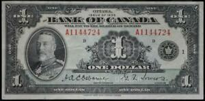 1935 Canada $1 Note Very Fine No Reserve Auction .99C Opening Bid