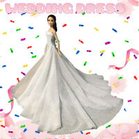 White Wedding Dress Gown for 11.5 inch Doll Evening Party Clothes for 1/6 Dolls