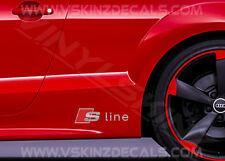 2x Audi S-line Premium Cast Skirt Decals Stickers TT RS A3 A4 A5 A6 Q3 Quattro