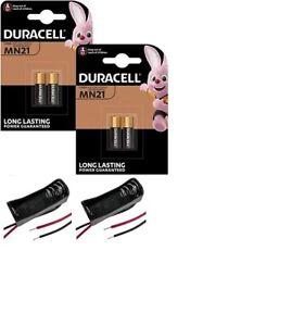 4 Duracell MN21 Alkaline Batteries A23 23A 12V - Door Bell Security + 2 Holders