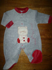 FREE P&P GREY/RED  VELOUR ALL IN ONE NEWBORN,  0/3, 3/6 MONTHS