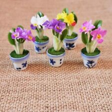 5 Cattleya Orchid Flower Miniature Dollhouse Flowers Clay in Ceramic Plant Pots