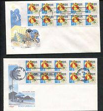 Lot of 2 HF First Day Covers 1990 Beach Umbrella US Pane of 10 15c Stamps