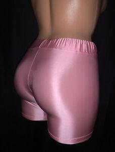 M Stretch Satin Shiny Silky Long Leg Panty Underwear Sissy Pink Men/wmn