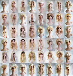 Blonde Wavy Straight Curly Long Short Fancy Dress Halloween Hen Party Wig