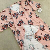 NEW LuLaRoe M Shirley Duster Cardigan Pink Floral Open Front Kimono NWT