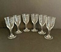 Vtg Mid Century Modern Clear Crystal Bamboo Pattern Cordials Glasses Set of 6