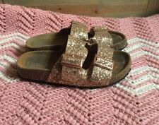 Kids Girl's Rose Gold Glitter Buckle Slip On Sandals Shoes Sz 5.5 Youth