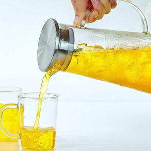 Glaskaraffe mit Deckel ca. 1,5L Saft Wasser Karaffe Edelstahl Krug Kanne Einsatz