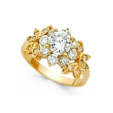 14k Yellow Gold Flower Solitaire CZ Engagement Ring Anniversary Round CZ Cluster