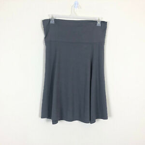 Old Navy Womens L Skirt Gray Jersey Knee Length Wide Waist Band Stretch