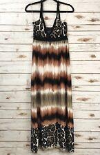 HYPNOTIK Women's Maxi Leopard Cheetah Striped Dress Empire Waist Stretch Sz S
