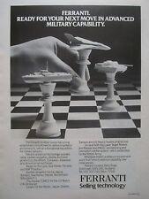 6/1981 PUB FERRANTI DEFENCE SYSTEMS ARMY NAVY AIR FORCE CHESS ECHECS ORIGINAL AD