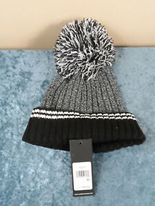 Karl Lagerfeld Paris Pom Pom Winter Beanie Hat Knit Cap Black/White/Grey
