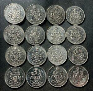 Old Canada Coin Lot - 50 CENTS - 16 AU/UNC COINS - Excellent Group - Lot #A2
