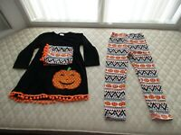 Unique Baby Girls 3 Piece Halloween Pumpkin Legging Set w/Infinity Scarf, Sz 2XL
