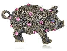 Antique Brass Plated Pink Crystal Rhinestone Piggie Pig Babe Pin Brooch SU