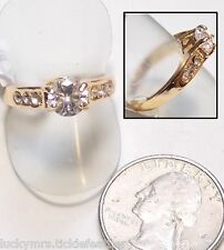 CZ Solitaire Ring w/6 Accent Stones, Gold Fill, Heart Cutout, Size 8, NEW