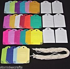 28 Embossed Happy Birthday Tags for Cards & Gift Bags with Cotton Strings 28pcs