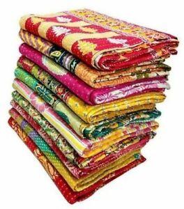 Indian Vintage Handmade Kantha Quilt Patch Work Cotton Fabric Bedspreads Blanket