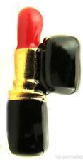 Red & Black Enamel Lipstick Tie Tack Hat Lapel Pin