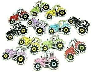 Farm Tractor Wooden Buttons Novelty Craft Embellishments Cardmaking Scrapbooking