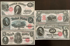 Reproduction 5 Piece United States Notes $1 $2 $5 $10 $20 1880-1917 Paper Money