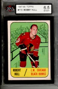BOBBY ROBERT HULL 1967-68 Topps Vintage #113 Chicago Blackhawks Graded KSA 6.5