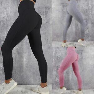 Damen Push Up Leggins Jogginghose Sport Gym Leggings Yoga Hose Stretch Fitness