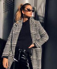 Topshop Houndstooth Checked Tartan Plaid Oversized Coat Jacket Blazer 10 UK