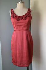 BCBG Max and Cleo Pink Rosette Sheath Dress Cocktail Party Excellent 4 Career