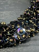 Vintage  Ladies Statement Necklace Black  Iridescent Sequins  Dangle 18""
