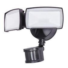 2-Head 180 Bright-LED Black Hard-Wired Wall Eave Timer Motion-Sensor Flood-Light