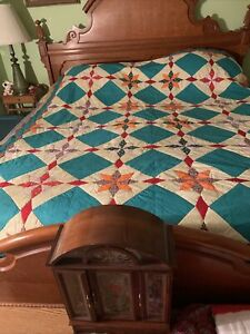 Vtg Home Made Full/queen Size Quilt