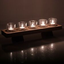 6 Pcs Tealight Candles Glasses Holder & Wooden Display Tray Wedding Centrepiece