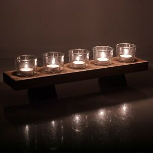5 Pcs Tealight Candles Glasses Holder & Wooden Display Tray Wedding Centrepiece