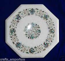 "16"" White Coffee Table Top Special Garden Furniture Marble PauaShell Inlay Decor"
