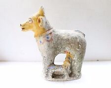 ANTIQUE RARE TERRACOTTA CLAY RELIGIOUS ANIMAL COW FIGURE TOY POTTERY NH3677