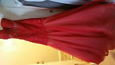 Sherri Hill Lace Trumpet Red Gown/Dress (altered) size 6