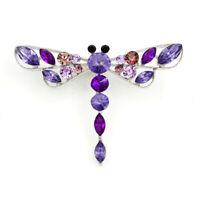 Women's Crystal Rhinestone Dragonfly Charm Betsey Johnson Brooch Pin Gift