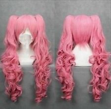 New Long pink Cosplay Straight Wig With Two Clip On Ponytails