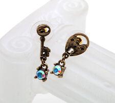 E506 BETSEY JOHNSON Medieval Crimson Key Locket Coat Arm Earrings US