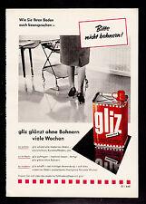 3w1965/ Alte Reklame von 1960 - GLIZ glänzt ohne Bohnern viele Wochen.