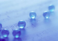 A4 Poster – Blue Marbles on a Music Song Sheet (Picture Print Instrument Art)