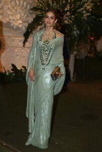 Sequin Fancy Work Pista Green Party Saree Wedding Wear Ethnic Sparkle Wear Sari