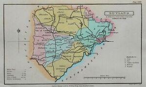 RUTLAND, Capper Original Hand Coloured Antique County Map 1808