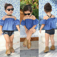 US Toddler Kids Baby Girls Clothes Off Shoulder Tops Denim Shorts Jeand Outfit