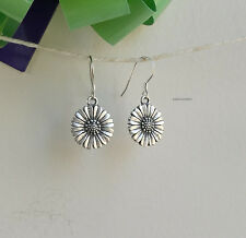 Genuine S990 silver(Thai Silver) sunflower  dangle earrings L30mm Dia14mm