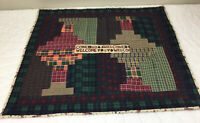 Patchwork Country Quilt Wall Hanging, Log Cabin, Plaids, Checks, Vivid Colors